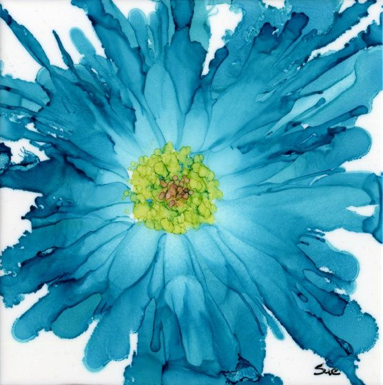 So Turquoise - Limited edition giclee print, from original of alcohol ink on tile.