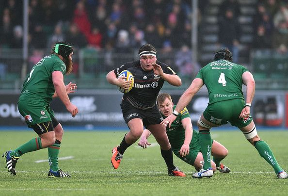 Jamie George of Saracens in action during the Aviva Premiership match between Saracens and London Irish at Allianz Park on January 03, 2015 in Barnet, England. (January 2, 2015 - Source: Tom Dulat/Getty Images Europe)