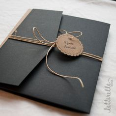 Black & Kraft Lace Cut Wedding Invitation 5X7 with by letterelle, $5.50