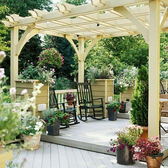 Deck with pergola & great rockers - Click image to find more hot Pinterest pins