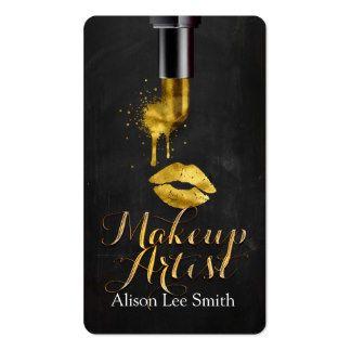 Gold Lipstick Makeup Artist Business Card