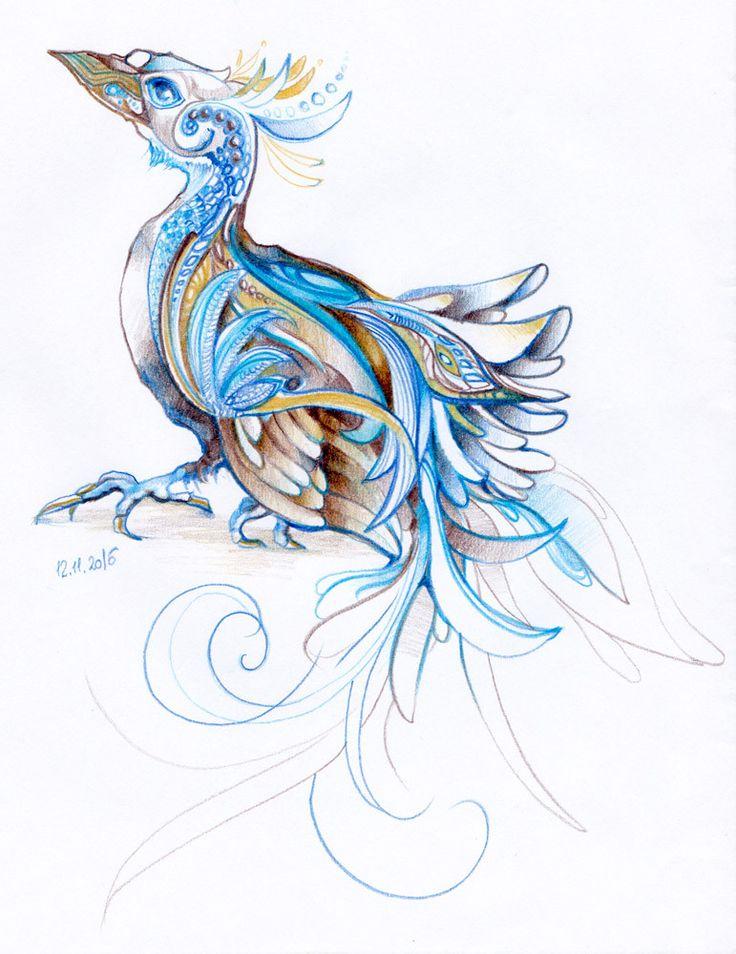 Fun with crayons. Bluebird by #minkulul Luiza #Malinowska More of my artwork on DA: http://minkulul.deviantart.com/