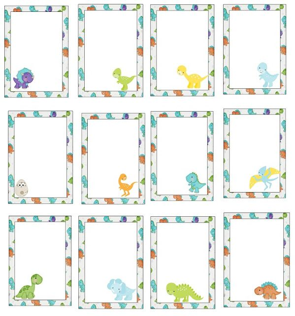 Dinosaur Babies: Free Printable Frames, Invitations, Cards or Labels.