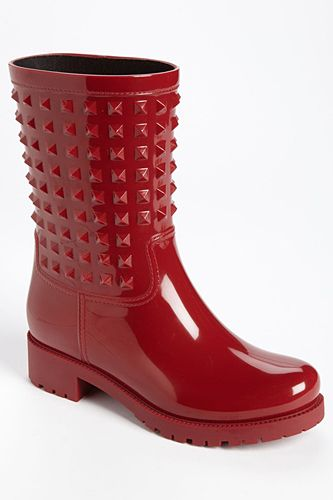 12 Stylish Rain Boots To Make A Splash #refinery29  http://www.refinery29.com/51262#slide6  Valentino Rockstud Rain Boots, $395, available at Nordstrom.