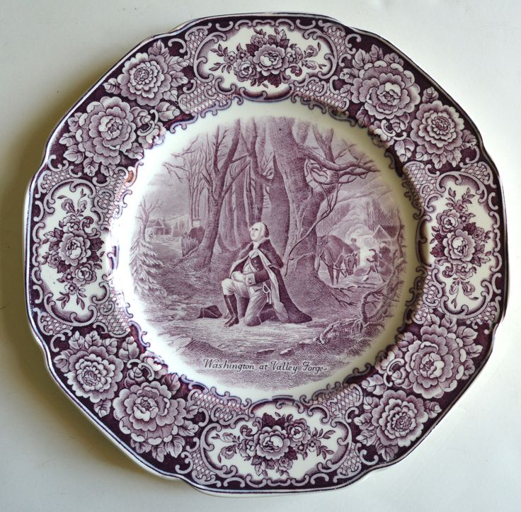 Circa 1932 Purple Aubergine Transferware George Washington At Valley Forge Plate My Shop