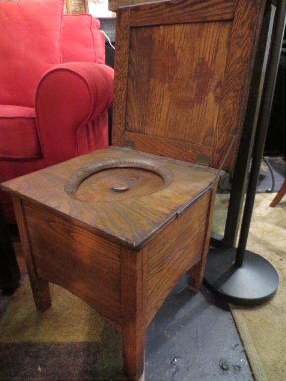 ANTIQUE CHAMBER POT, IN WOODEN CASE, APPROX 20