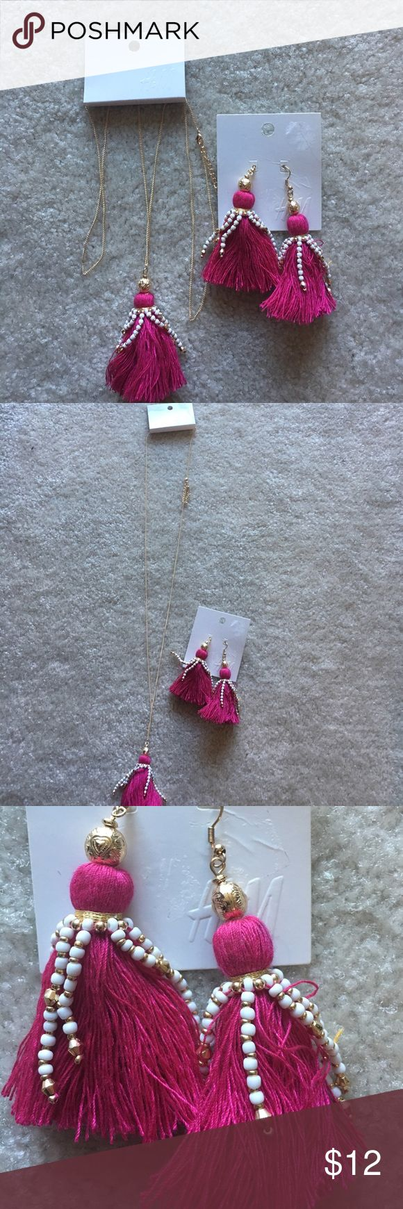 New pink fuchsia H&M earrings and necklace set Brand new with tags H&M necklace and earring set H&M Jewelry Necklaces