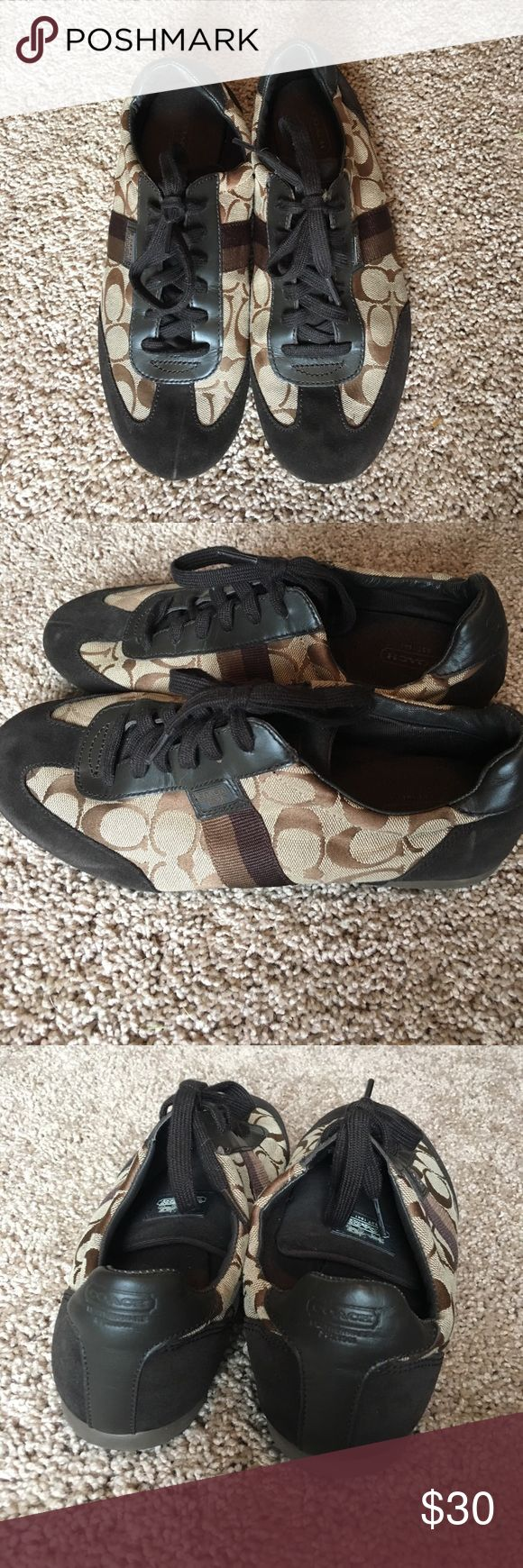 Coach tennis shoes Tan and brown Coach tennis shoes! Only worn a few times! Coach Shoes Sneakers