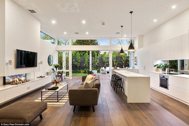Like the wooden floor and white kitchen, window splashback a must