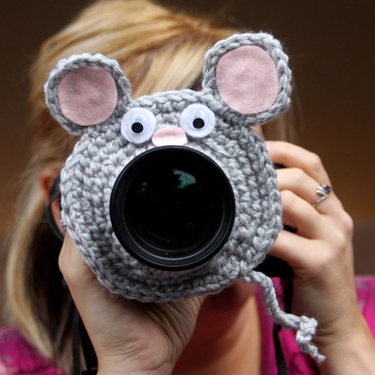 Camera lens buddy. Crochet lens critter mouse. Photographer helper. $12.99, via Etsy.