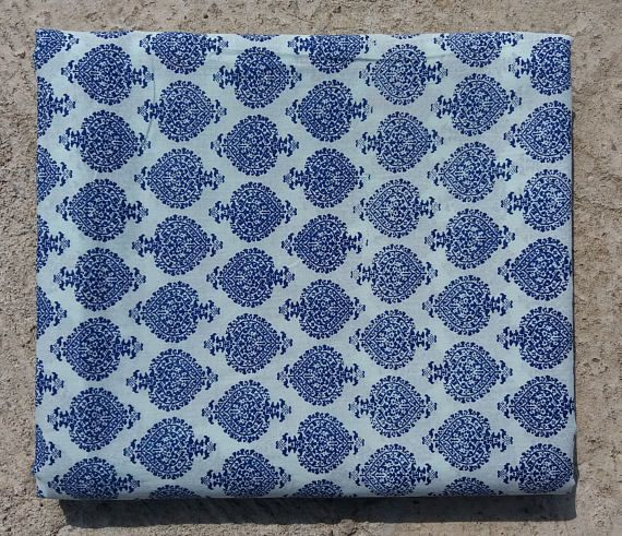 15 yards Blue Block print Fabric,Indian  Fabric, Soft Cotton Fabric,Cotton Fabric,Printed Fabric,Block Print Fabric , Wholesale Fabric