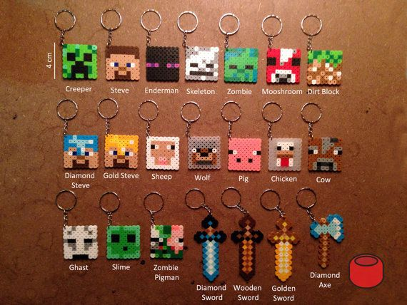 Minecraft Keychains Magnets Pins and Charms from Perler by DJbits, $3.00