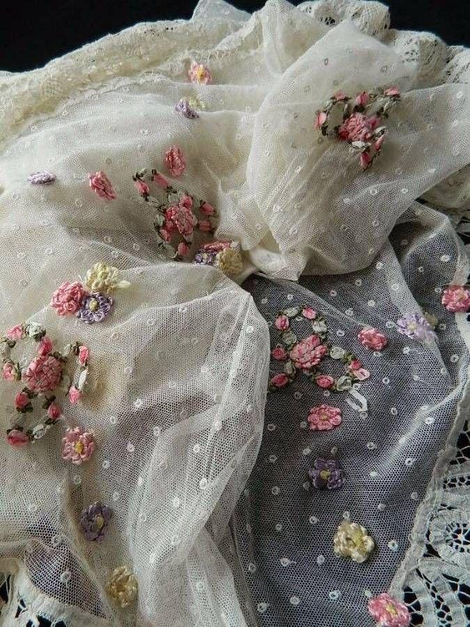 Antique Victorian Ivory White Silk Petticoat Tambour Honiton Lace Embroidery | eBay