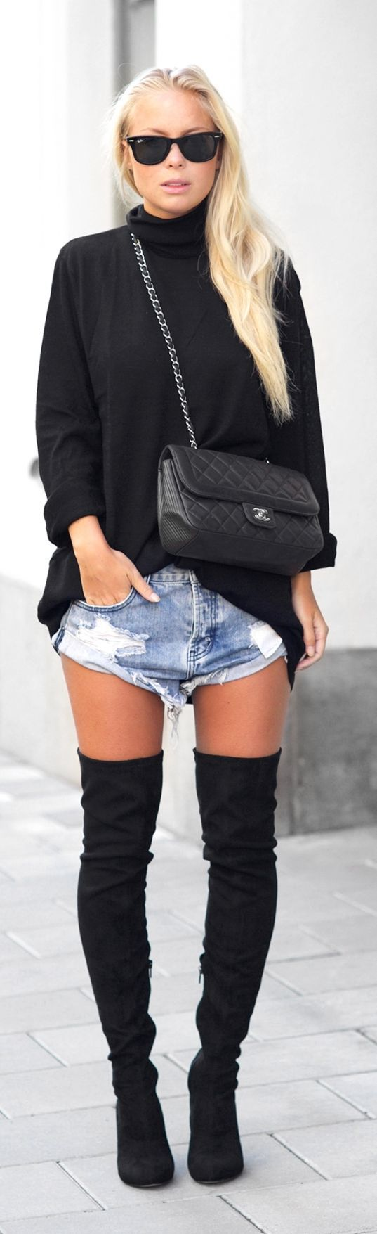 Ripped Loose Shorts Fall Inspo by Victoria Tornegren