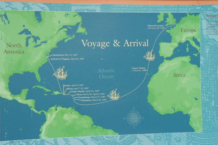 A map marks the voyage from Britain to Jamestown, Virginia in 1607. The ships navigated specifically down to Africa and making way through the Caribbean and then up to the Virginia. They used this indirect route because it provided needed stops to for water and food and navigation of the wind current for the ship.