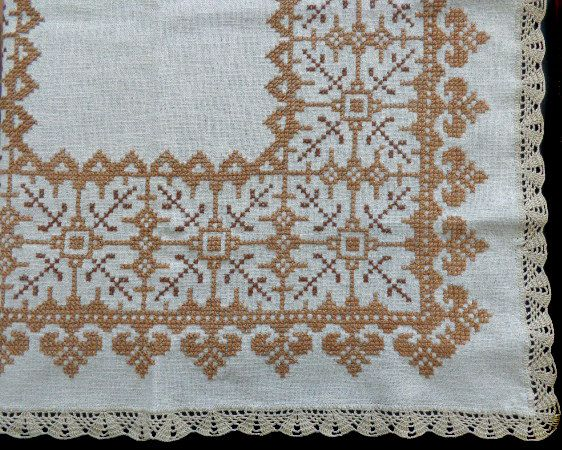 Vintage cross stitch tablecloth by DoiliesLaceCrafts on Etsy