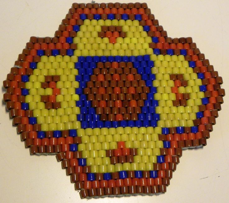 ORIGINAL DDR Glasperlen Untersetzer - braun rot gelb blau