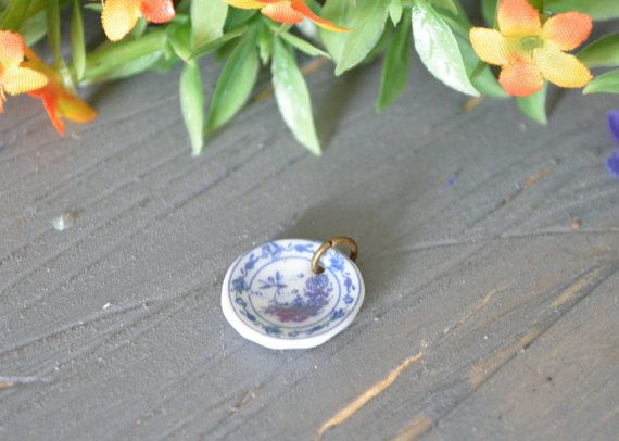 Tea Cup Saucer Charm, Plate Charm, Miniature Plate Charm, Polymer Clay
