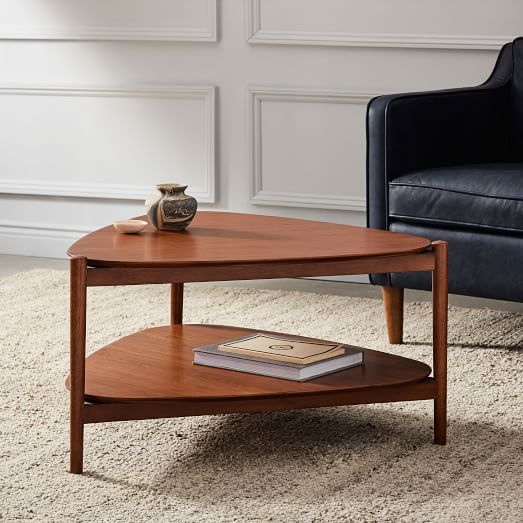 Mid-Century Art Display Round Coffee Table - Walnut
