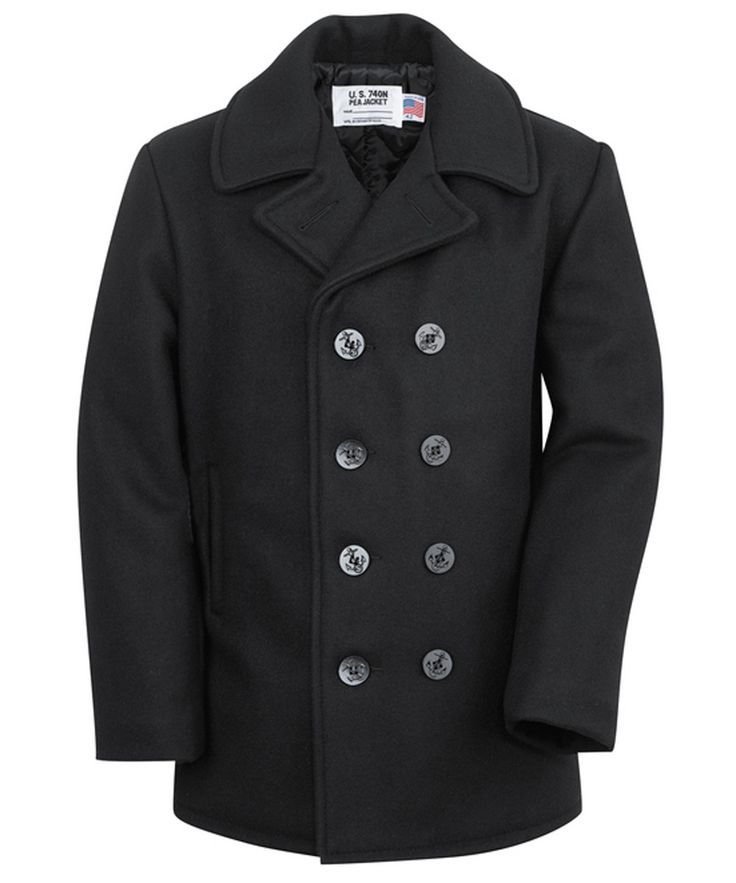 Schott 740 Wool Pea Coat - Navy