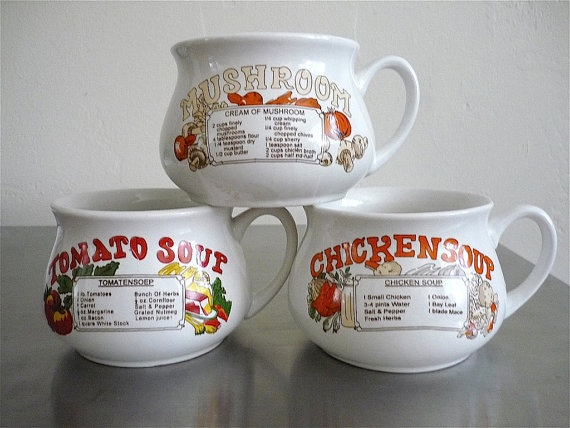 Vintage Housewares 80 S Soup Cups Printed Set Of By