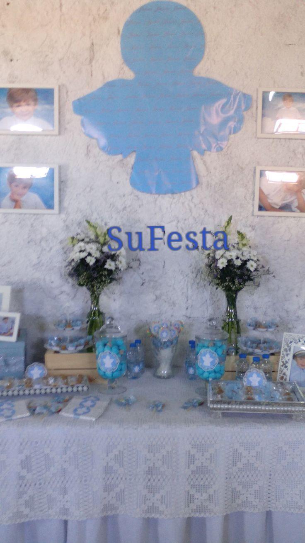 anjos  Decoração de Batizado Branco e azul