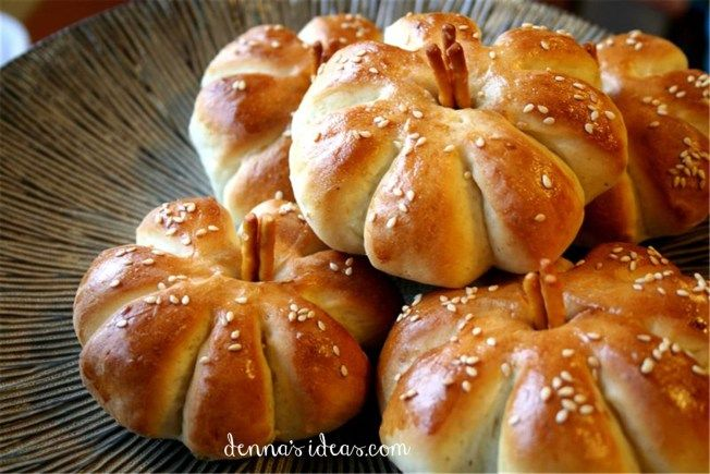 """Pumpkin shaped dinner buns for """"It's the Great Pumpkin Charlie Brown!"""" party ideas by denna's ideas.  Fast and easy ideas for a fall pumpkin themed birthday party."""