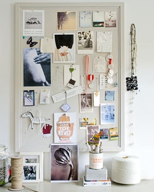 Make your own moodboard, collect photo's, colour swatches and little treasures. #pinboard #creative #pin #clips