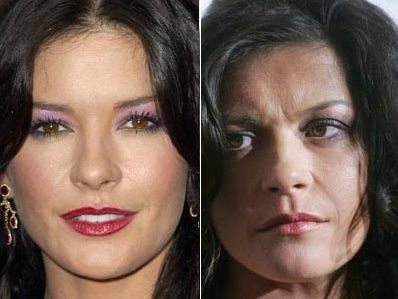 Catherine Zeta Jones before and after being photo-shopped. YIKES!