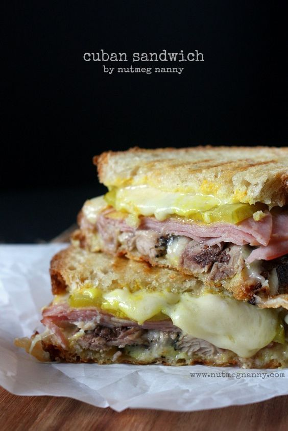 Nutmeg Nannie's take on the Cuban sandwich! Crisp pork, ham, pickles, cheese and yellow mustard all on toasted bread.