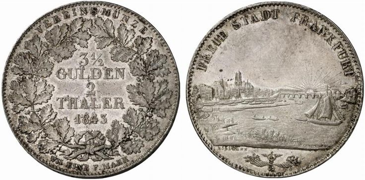 AR Double Taler. Germany Coin, Frankfurt, Free City. 1843. 37,08g. KM 326. EF. Starting price 2011: 560 USD. Unsold.