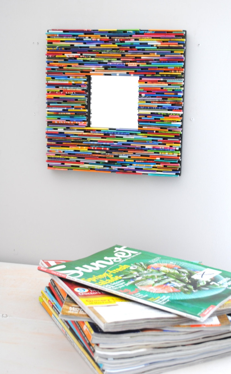 bright and colorful square mirror- made from recycled magazines. 82.00$, via Etsy.