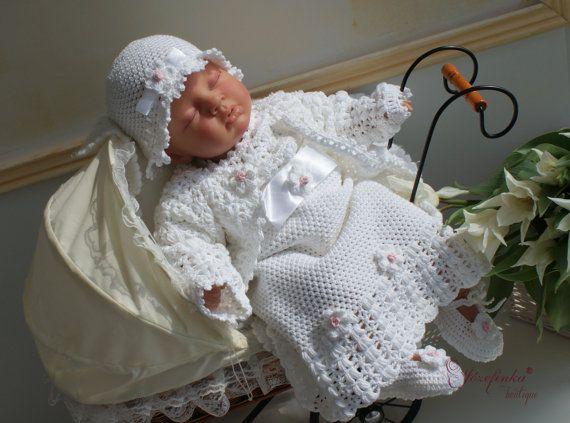 Christening girl Gown,Baptism Dress,Crochet Baby Dress,Baby Girl Clothes,cotton clothes,baby in vintage,handmade ,
