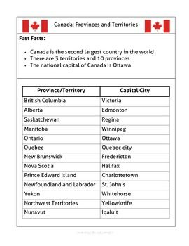 Canada: Provinces and Territories: Handout + Quiz