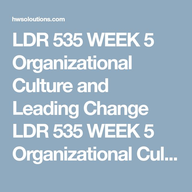 LDR 535 WEEK 5 Organizational Culture and Leading Change LDR 535 WEEK 5 Organizational Culture and Leading Change LDR 535 WEEK 5 Organizational Culture and Leading Change Prepare an Executive Summary of no more than 350-words.  Create a 7- to 10-slide Microsoft® PowerPoint® Presentation that discusses the role culture plays in organizational change. At a minimum, include the following:   Define organizational culture. Discuss the roots of organizational culture. Discuss the role…