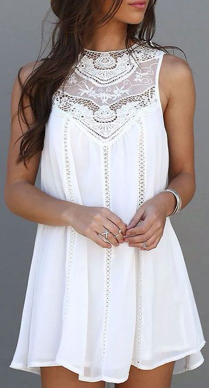 Sleeveless Crochet Hollow Shift Dress