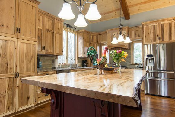 Mullet Cabinet A Rustic Hickory Kitchen With Live Edge Island Hickory Kitchen Cabinets Hickory Kitchen Lake House Kitchen