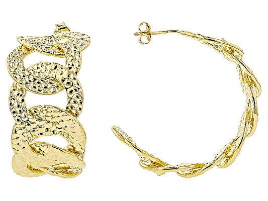 c4577aab027c6 Moda Al Massimo™ 18K Yellow Gold Over Bronze Curb Hoop Earrings ...