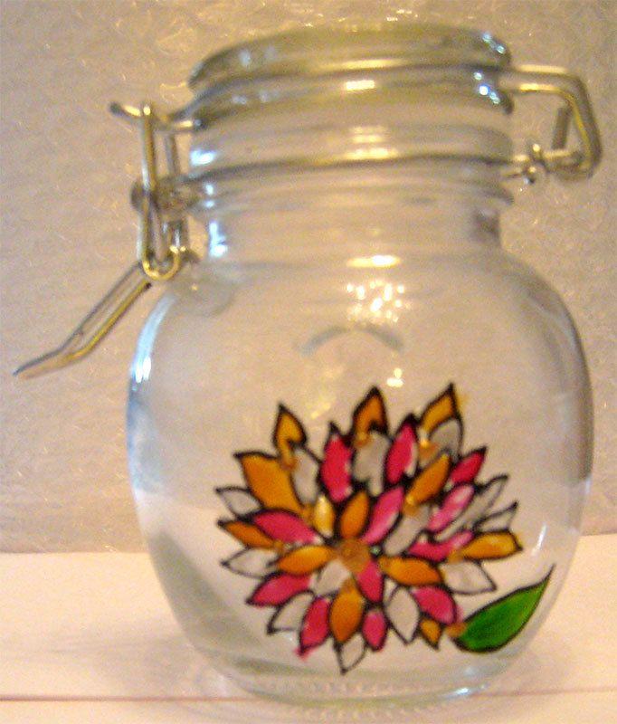 Designer Hand Painted Glass Round Chrysanthemum Jar by HandPaintedJar on Etsy