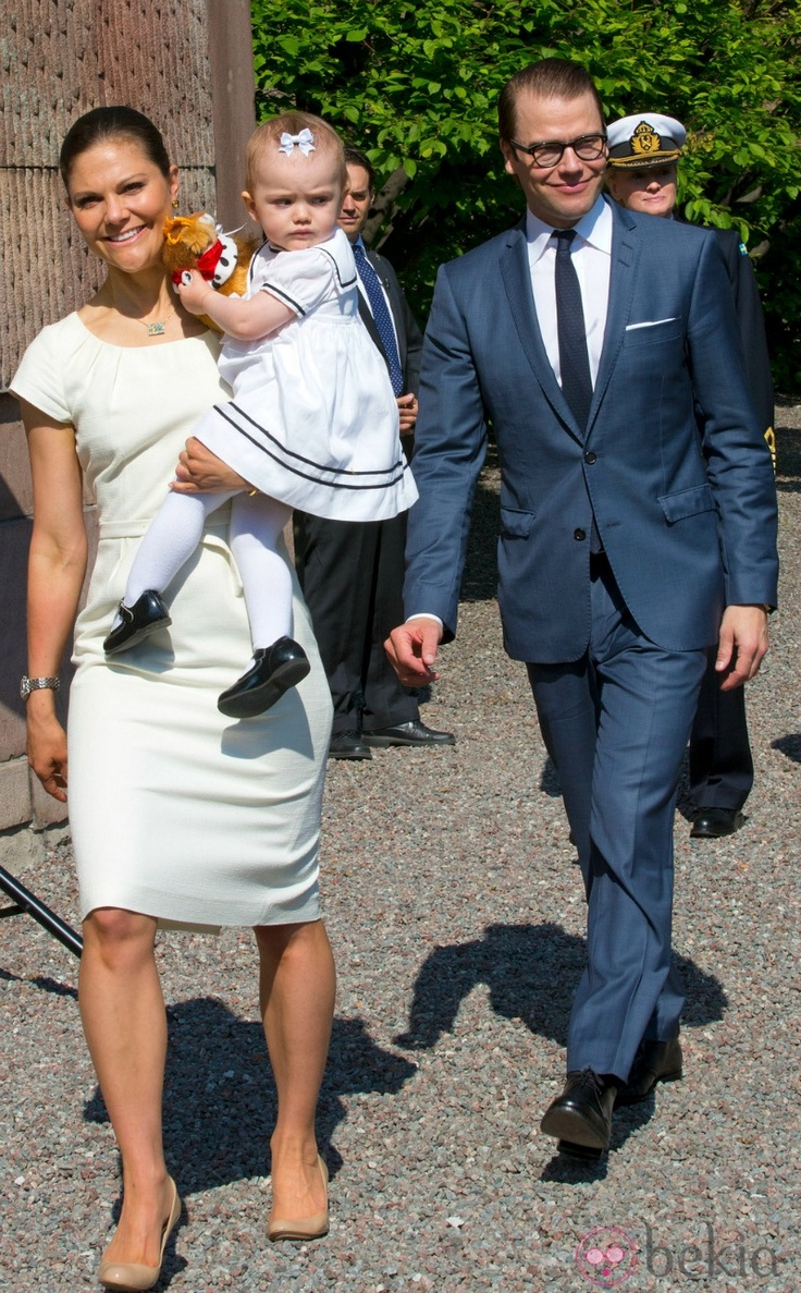 "Crown Princess Victoria, Prince Daniel and Princess Estelle  inaugurates the exhibition ""Open Palace"" at the Royal Palace in Stockholm during celebration of the Swedish national day."