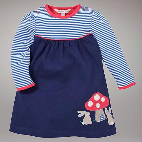 Buy John Lewis Baby Rabbit Stripe Dress, Navy Online at johnlewis.com