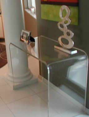 Acrylic CONSOLE Table Desk Lucite Waterfall Sofa