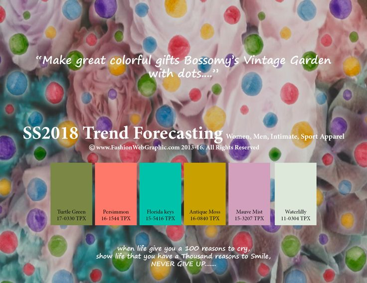 SS2018 Fashion Trend Forecasting for Women, Men, Intimate, Sport Apparel - Make great colorful gifts Bossomy's Vintage Garden with dots....  www.JudithNg.com