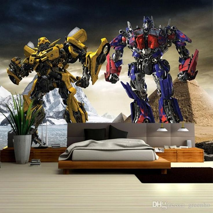 3D Transformers Photo Wallpaper Optimus Prime & Bumblebee