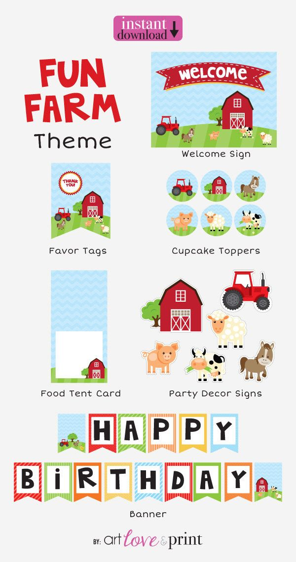 FARM Animals Birthday Printable Party Kit by artloveandprint on Etsy https://www.etsy.com/listing/225134021/farm-animals-birthday-printable-party