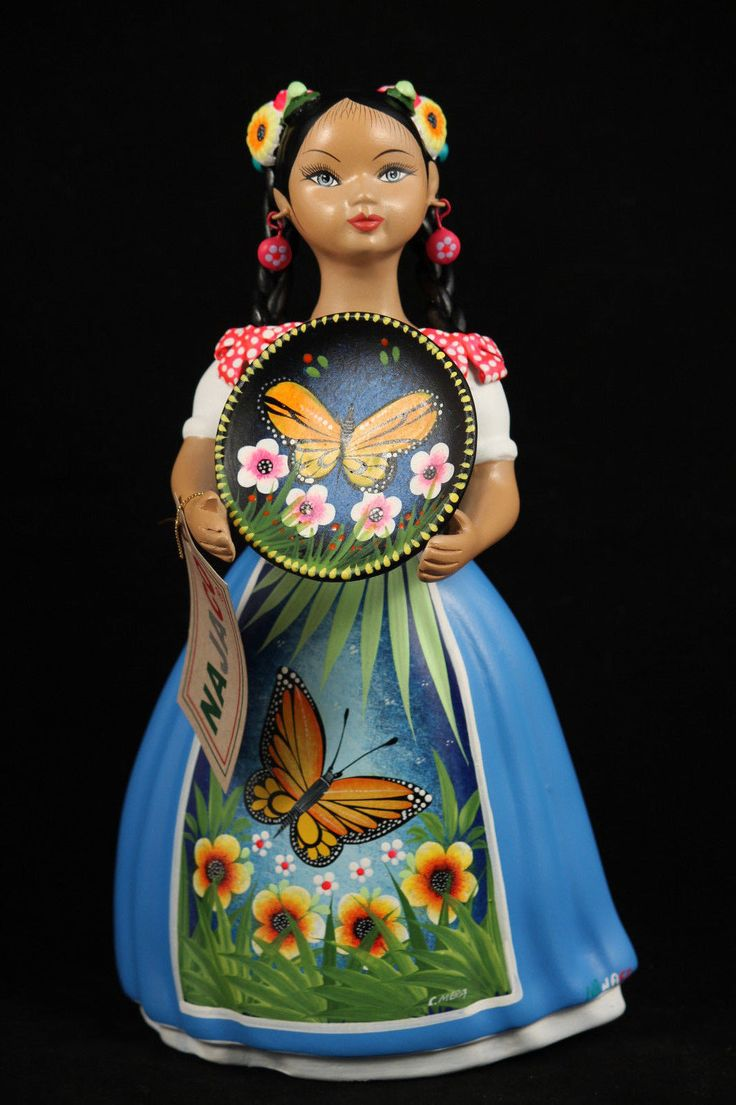 "- Lupita holding Platter, Mexican Ceramic Figurine with a Blue colored dress. - The Platter has a painted Butterfly and flowers - The figurine is 11-3/8"" tall and 6"" wide. - Please note the beautiful"