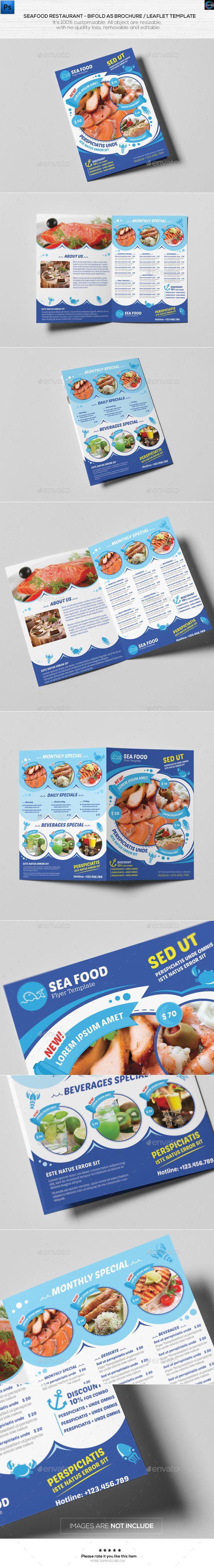 Seafood Restaurant-A5 Brochure/Leaflet Template - Catalog Brochure Template PSD. Download here: http://graphicriver.net/item/seafood-restauranta5-brochureleaflet-template/12341412?s_rank=1725&ref=yinkira