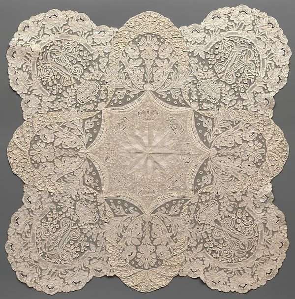 Handkerchief Maker: Convent of Notre Dame de Visitation Date: ca. 1865 Culture: Belgian, Ghent Medium: Cotton, bobbin lace