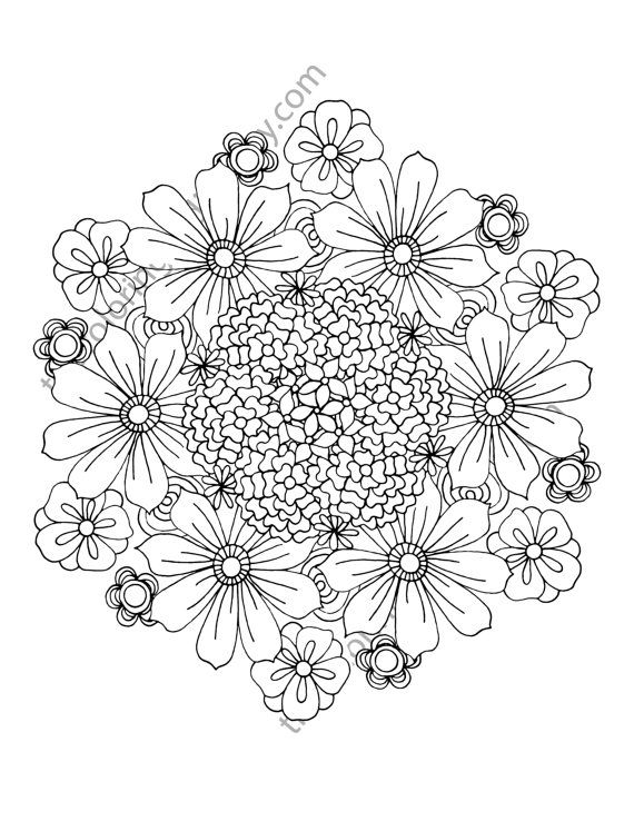 Flower Coloring Page Floral Adult Digital Mandala Pdf