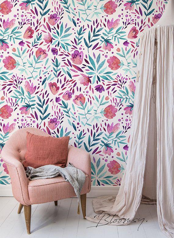 Removable wallpaper - Purple vintage flowers Wallpaper - Peel and stick wallpaper - Wallpaper - Self adhesive wallpaper - Floral - Decor